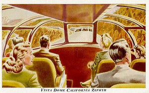 Vista Dome California Zephyr Train - Vintage Postcard Magnet