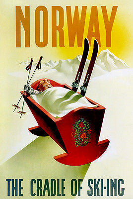 1940's - Norway - The Cradle of Skiing - Travel Advertising Poster