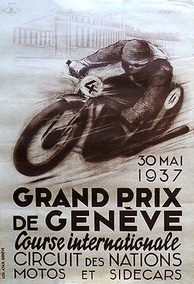 1937 Geneva Grand Prix Motorcycle Race - Promotional Advertising Poster