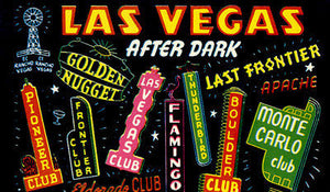 Las Vegas After Dark - Early 1950's - Vintage Postcard Poster