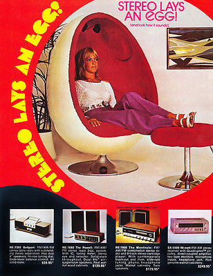 "1972 - ""Stereo Lays An Egg"" Stereo Chair - Promotional Advertising Poster"