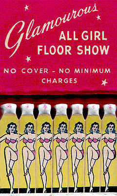1940's - Glamourous All Girl Floor Show - Matchbook Advertising Poster