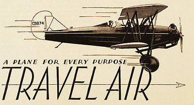 1930 Travel Air - A Plane For Every Purpose - Promotional Advertising Poster