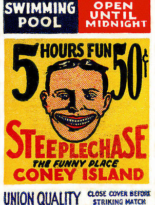 1920's - Steeplechase - Coney Island - New York - Matchbook Advertising Poster
