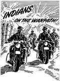 1943 Indian Motorcycles - Indians on the Warpath - Promotional Advertising Poster