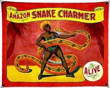 1960's Carnival Sideshow - ALIVE - Amazon Snake Charmer - Poster