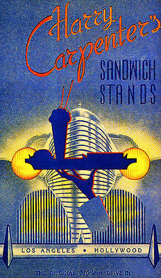 Harry Carpenter's Sandwich Stands - Late 1930's - Los Angeles - Promo Poster