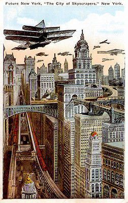Future New York - City of Skyscrapers - 1911 - Vintage Postcard Poster