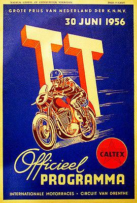 1956 Dutch T. T. Motorcycle Race - Promotional Advertising Magnet