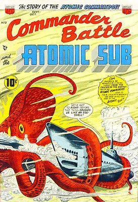 Commander Battle and the Atomic Sub #2 1954 - Comic Book Cover Poster