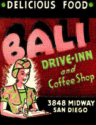 1930's - Bali Drive Inn - San Diego CA - Matchbook Advertising Poster