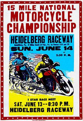 1953 Heidelberg Raceway - PA - Motorcycle Races - Promotional Advertising Magnet