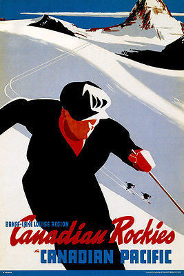 1941 Ski Canadian Rockies - Canadian Pacific Railroad - Travel Advertising Poster