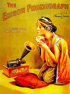 1888 - The Edison Phonograph - Promotional Advertising Poster