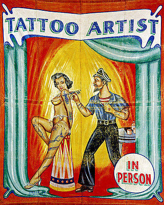 1945 Carnival Banner - Tattoo Artist In Person - Poster