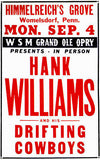 Hank Williams and His Drifting Cowboys - Womelsdorf PA - 1950 - Concert Poster
