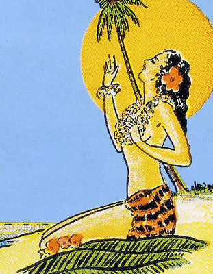 1930's Hawaiian Girl in the Sun - Matchbook Advertising Poster