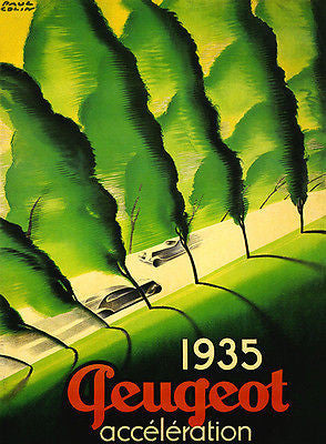1935 Peugeot - Acceleration - Promotional Advertising Poster