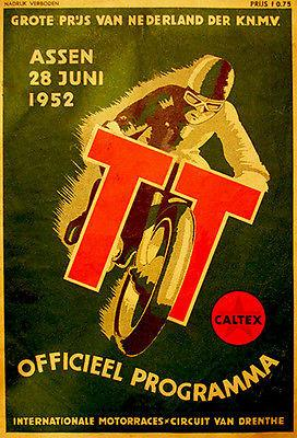 1952 Dutch T. T. Motorcycle Race - Promotional Advertising Magnet