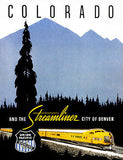 1950's Streamliner - City of Denver - Colorado Train Travel Advertising Poster