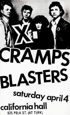 X - Cramps - Blasters - 1982 - California Hall - Concert Poster