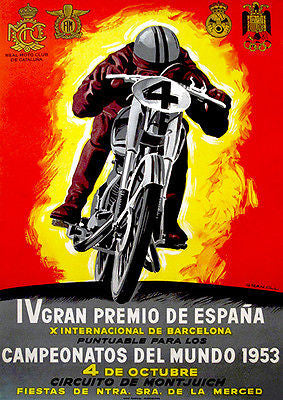 1953 Spanish Grand Prix Motorcycle Race - Promotional Advertising Poster