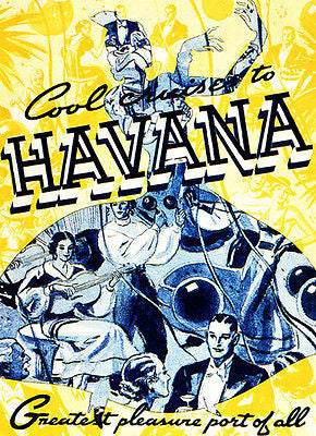 Cool Cruises to Havana - 1938 - Travel Advertising Poster