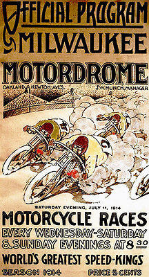 1914 Milwaukee Motordrome Motorcycle Races - Promotional Advertising Poster
