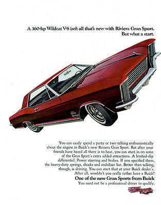 1965 Buick Riviera Gran Sport - Promotional Advertising Poster