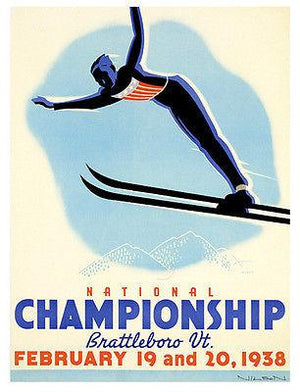 1938 U.S. Ski Jumping Championships - Promotional Advertising Magnet