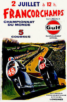 1972 Francorchamps World Championship Motorcycle Race - Promotional Poster