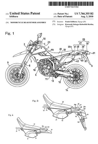 2010 - Kawasaki Dirt Bike - Motorcycle Rear Fender - F. Ichihara - Patent Art Magnet