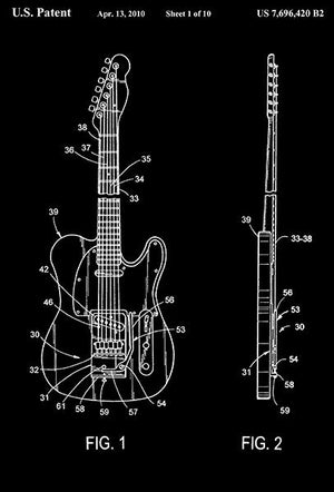 2010 - String Bender For Electric Guitar - D. J. Thompson - Patent Art Magnet