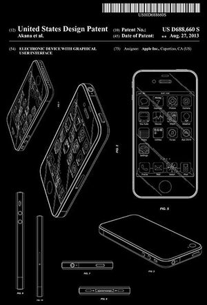 2013 - Apple iPhone - Electronic Device With Graphical User Interface - Patent Art Magnet