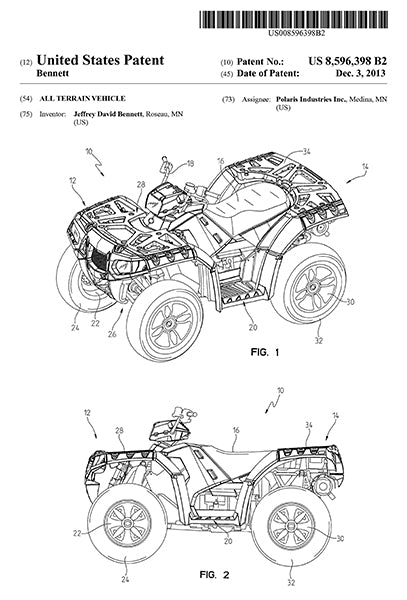 2013 - Polaris ATV - All Terrain Vehicle - J. D. Bennett - Patent Art Poster