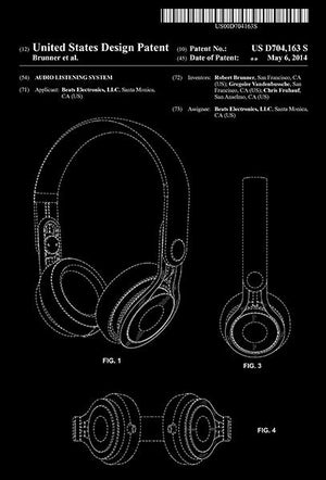2014 - Beats Headphone - Audio Listening System - R. Brunner - Patent Art Magnet