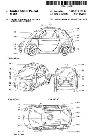 2015 - Google Waymo Self-Driving Car - D. T. Lu - Patent Art Magnet