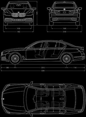 2017 BMW M760 i xDrive - Blueprint Magnet