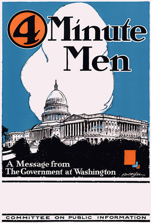 4 Minute Men - 1915 - World War I - Propaganda Magnet