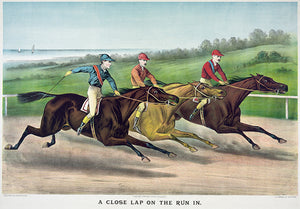 A Close Lap On The Run In - 1886 - Horse Racing Magnet