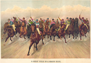 A Great Field In A Grand Rush - 1888 - Horse Racing Magnet