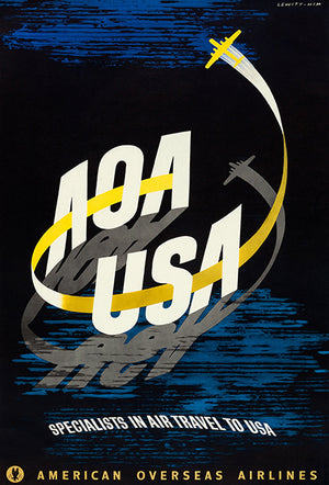 AOA USA - American Overseas Airlines - 1948 - Travel Poster Mug