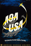 AOA USA - American Overseas Airlines - 1948 - Travel Poster Magnet