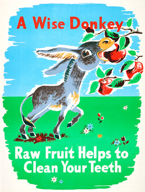 A Wise Donkey - Clean Your Teeth - 1950's - Health Poster