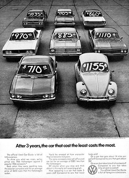 After 3 Years - Volkswagen Beetle - 1966 - Promotional Advertising Poster