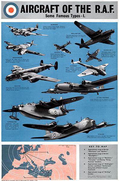 Aircraft Of The RAF Some Famous Types I - 1940's - Propaganda Poster