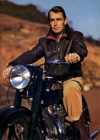 Alan Ladd On Indian Motorcycle - Photo Poster