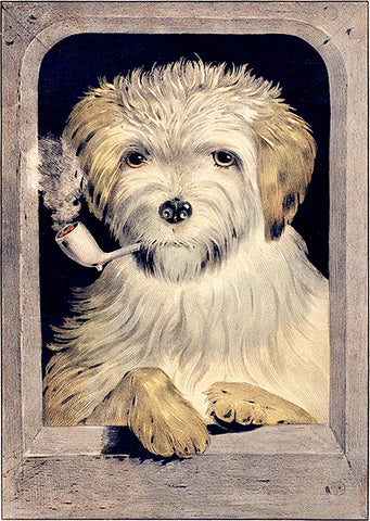 All Right! - Dog Smoking - 1835 - Illustration Poster