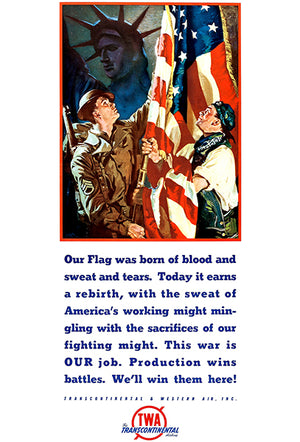 American Flag - TWA - 1941 - World War II - Propaganda Poster