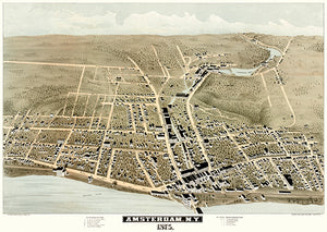Amsterdam, New York - 1875 - Aerial Bird's Eye View Map Poster
